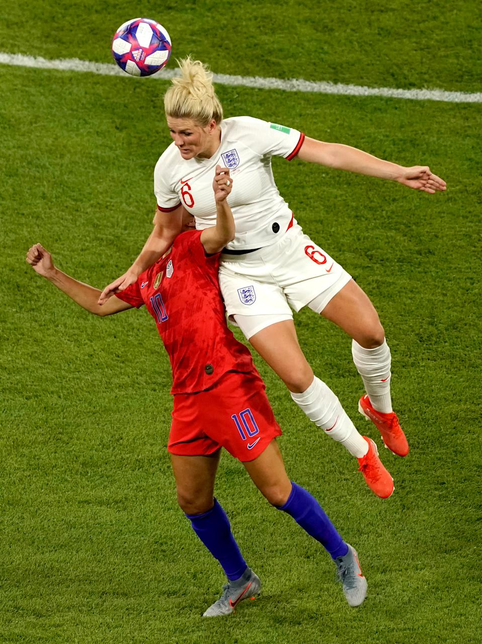 (L-R) Carli Lloyd of USA Women, Millie Bright of England Women during the World Cup Women match between England v USA at the Stade de Lyon on July 2, 2019 in Lyon, France. (Photo by Geert van Erven/Soccrates/Getty Images)