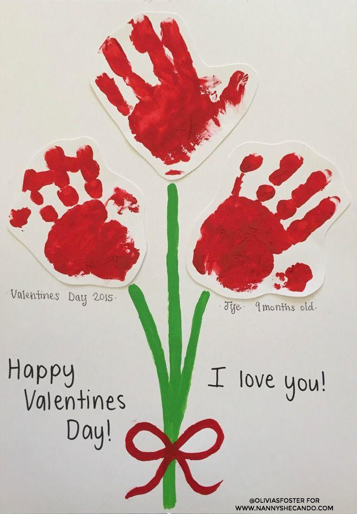 """<p>Who wouldn't love to receive this adorable bouquet for Valentine's Day? Make it with a handprint from each child in a family, labeling each """"bloom"""" with the corresponding name and age.</p><p><em><a href=""""http://www.nannyshecando.com/valentines-day-easy-kids-craft/"""" rel=""""nofollow noopener"""" target=""""_blank"""" data-ylk=""""slk:Get the tutorial at Nanny Shecando »"""" class=""""link rapid-noclick-resp"""">Get the tutorial at Nanny Shecando »</a></em></p>"""