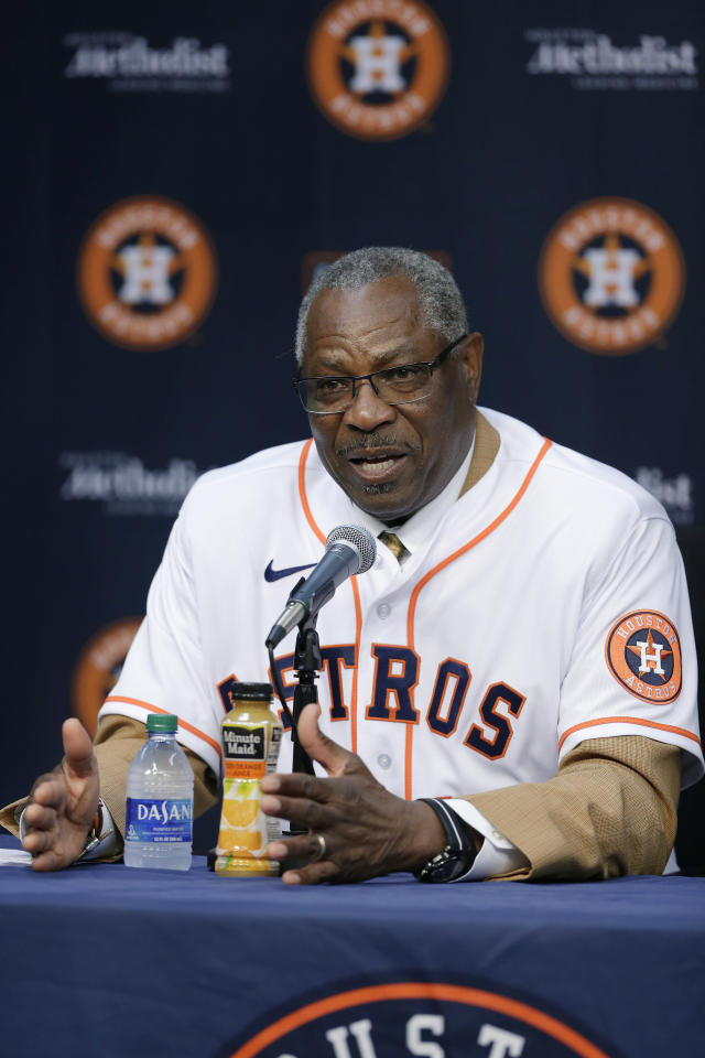New Houston Astros manager Dusty Baker speaks during a baseball press conference at Minute Maid Park, Thursday, Jan. 30, 2020, in Houston. (AP Photo/Michael Wyke)