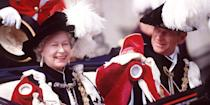 <p>In matching outfits with her husband Prince Philip for a royal procession for the garter ceremony in Windsor.</p>