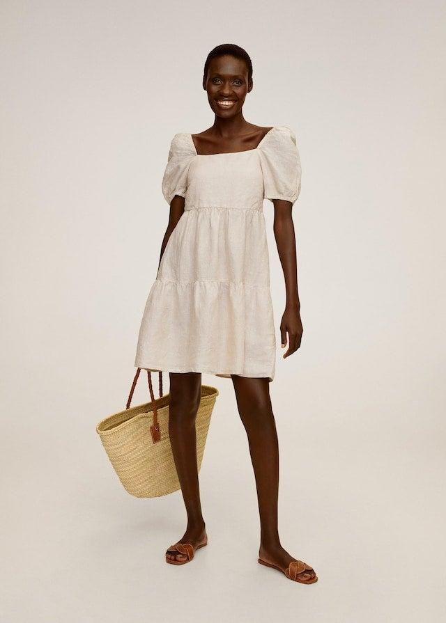"""<h2>Linen Dress</h2> <br>'Tis the season of linen! And this pretty ruffled frock was a top buy from our roundup on <a href=""""https://www.refinery29.com/en-us/linen-fashion-trend"""" rel=""""nofollow noopener"""" target=""""_blank"""" data-ylk=""""slk:the best linen pieces for summer"""" class=""""link rapid-noclick-resp"""">the best linen pieces for summer</a>. Why do we (and readers) love the fabric so? It's much more eco-friendly than its synthetic alternatives AND super cool in sweltering temps. <br><br><em>Shop <strong><a href=""""https://shop.mango.com/us/women"""" rel=""""nofollow noopener"""" target=""""_blank"""" data-ylk=""""slk:Mango"""" class=""""link rapid-noclick-resp"""">Mango</a></strong></em><br><br><strong>Mango</strong> Ruffled linen dress, $, available at <a href=""""https://go.skimresources.com/?id=30283X879131&url=https%3A%2F%2Fshop.mango.com%2Fus%2Fwomen%2Fdresses-short%2Fruffled-linen-dress_67009026.html"""" rel=""""nofollow noopener"""" target=""""_blank"""" data-ylk=""""slk:Mango"""" class=""""link rapid-noclick-resp"""">Mango</a><br><br><br>"""