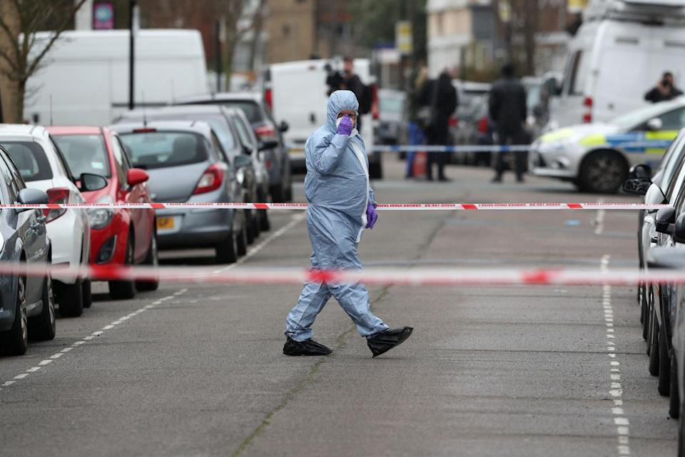 A forensic officer on Chalgrove Road, Tottenham, north London, where a 17-year-old girl has died after she was shot Monday evening (Picture: PA)
