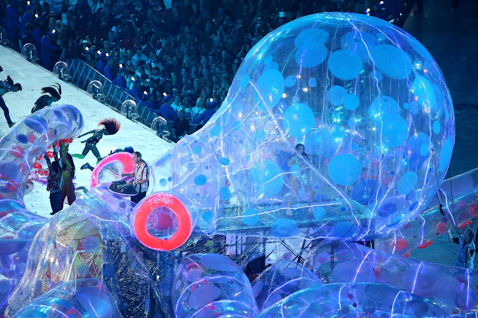 Fat Boy Slim aka Norman Cook during the Closing Ceremony on Day 16 of the London 2012 Olympic Games at Olympic Stadium on August 12, 2012 in London, England. (Photo by Rob Carr/Getty Images)