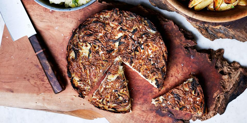"""We transformed the regular hands-on skillet method to a very hands-off oven technique. <a href=""""https://www.bonappetit.com/recipe/salt-and-vinegar-rosti?mbid=synd_yahoo_rss"""" rel=""""nofollow noopener"""" target=""""_blank"""" data-ylk=""""slk:See recipe."""" class=""""link rapid-noclick-resp"""">See recipe.</a>"""