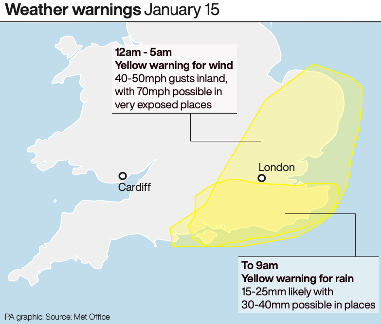 Yellow weather warnings remained in place for Wednesday morning (PA)