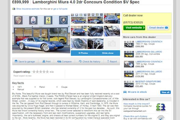 Handout photo issued by Autotrader of a still taken from the Autotrader website showing a Lamborghini Miura SV which used to be owned by Rod Stewart and is being sold by Amari Super cars in Preston, Lancashire. PRESS ASSOCIATION Photo. Issue date: Wednesday March 26, 2014. See PA story SALE Rod. Photo credit should read: Autotrader/PA WireNOTE TO EDITORS: This handout photo may only be used in for editorial reporting purposes for the contemporaneous illustration of events, things or the people in the image or facts mentioned in the caption. Reuse of the picture may require further permission from the copyright holder.