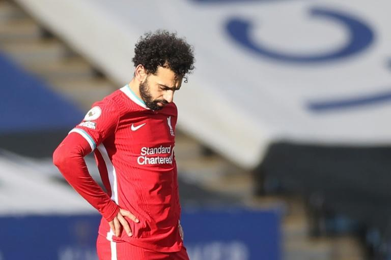 Liverpool's Mohamed Salah reacts during the defeat at Leicester