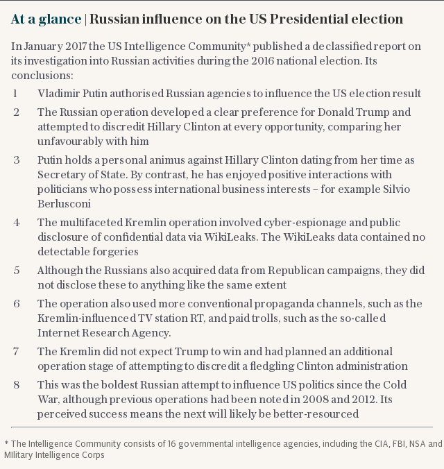 At a glance | Russian influence on the US Presidential election