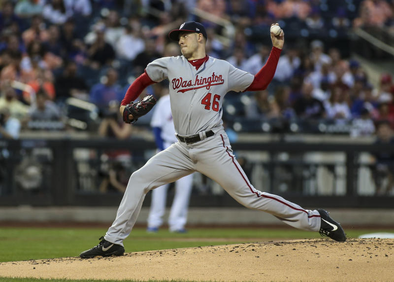 Aug 10, 2019; New York City, NY, USA; Washington Nationals pitcher Patrick Corbin (46) pitches in the second inning against the New York Mets at Citi Field. Mandatory Credit: Wendell Cruz-USA TODAY Sports