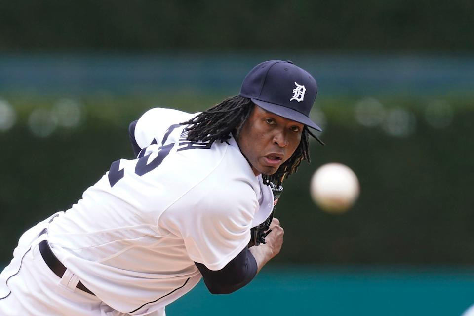 Detroit Tigers starting pitcher Jose Urena throws during the first inning of a baseball game against the Pittsburgh Pirates, Thursday, April 22, 2021, in Detroit.