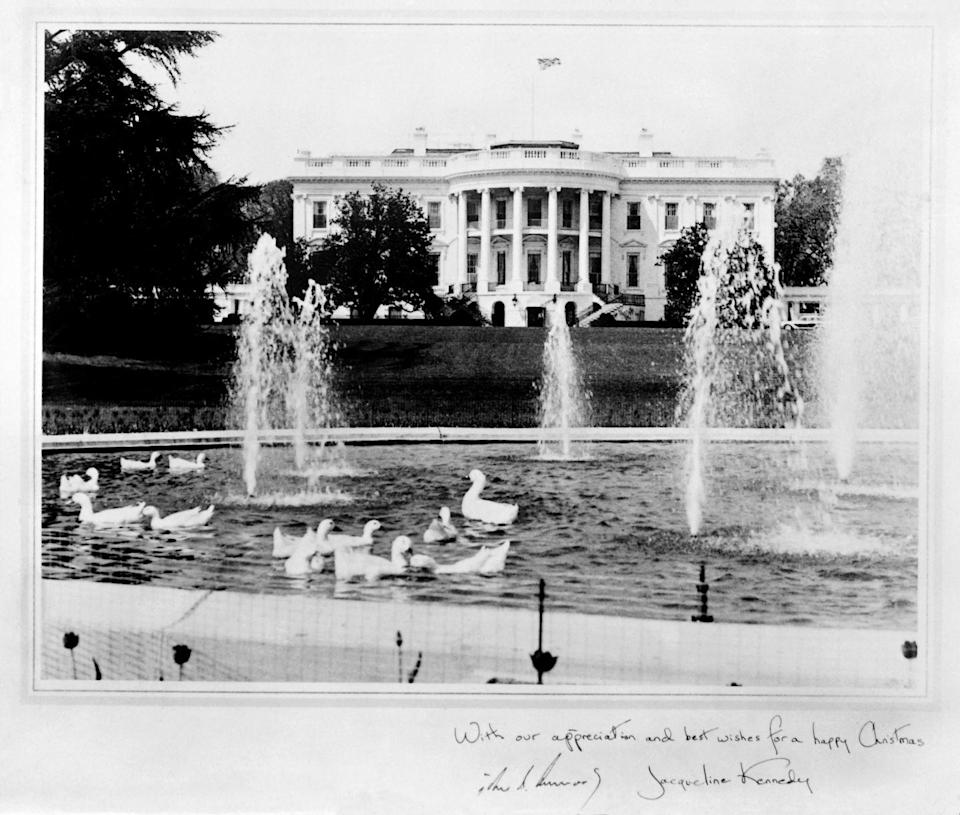 """<p>Here, an image of the 1961 Kennedy Christmas card, signed: """"With our appreciation and best wishes for a happy Christmas.""""</p>"""