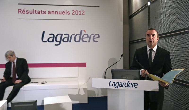 Arnaud Lagardere, the head of French media group Lagardere, presents the company's 2012 annual results in Levallois