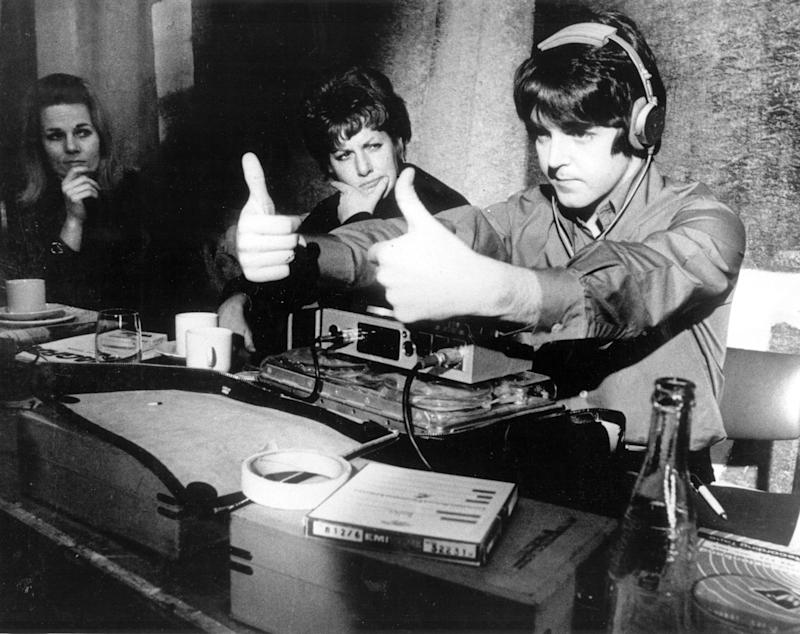 1968:Paul McCartney gives the thumbs up during production of the new Beatles film, a feature length cartoon called 'Yellow Submarine'.