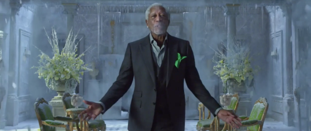 Morgan Freeman, cool as ice for Mountain Dew. (via screenshot)