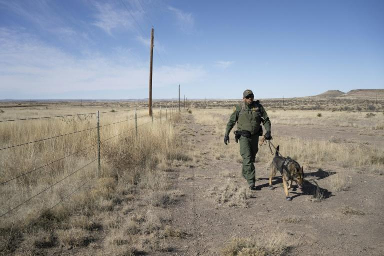 US Border Patrol agents in Texas are responsible for hundreds of miles of terrain and use everything from drug-sniffing dogs to cameras in their patrols (AFP Photo/Paul Ratje)