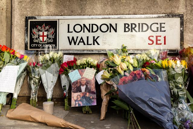 Floral tributes to victims were left near the scene of the London Bridge terror attack (Getty)