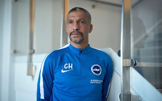 "Nobody mentioned Chris Hughton when Everton were looking for a new leader last October, but everyone can see that the Barclays Manager of the Month for February is above Sam Allardyce in the Premier League table as the sides meet at Goodison Park. Hughton is in his element at Brighton and Hove Albion, who have risen from 21st in the Championship to 10th in the top division since he was hired in December 2014. The fit is so natural that no-one in Sussex worries much about him being lost to a 'bigger club.' With 34 points from 29 games, Brighton could be within four points or so of securing another season in the Premier League after 34 years outside the top flight. Hughton, who today joins Pep Guardiola, Eddie Howe and David Wagner as winners of the monthly award in 2017-18, has been rewarded for the remarkable improvement shown by Brighton's players since the 4-0 hammering at home by Chelsea on 20 January. From there they won three of their next four games, beating West Ham (3-1), Swansea (4-1) and Arsenal (2-1). Next weekend they face Manchester United at Old Trafford in the quarter-finals of the FA Cup. If the rest of the league saw only the goals when Chelsea came to visit, Hughton observed something deeper. He says: ""What has helped enormously is that even in the Chelsea game, where arguably we saw one of the best individual performances by a player at the Amex [by Eden Hazard], we were just caught by an exceptional team and found it hard to get back in. ""But the general sense was that we didn't play too badly, and I think that helped, because it meant the confidence levels weren't shattered. The team have not been embarrassed by the division. We've been in almost every game."" Chris Hughton, here with his coaching staff, has been named Premier League manager of the month Credit: Getty images But the upswing was remarkable, with 10 points from 12 and a surge away from the relegation zone. Hughton picks out ""continuity"" of selection and the spirit in his squad: ""It's also the influence of the players who are not playing. That group has been good all season - and that helps. But it is hard work. We're having to raise our game for every game, and it's demanding, but the players so far have shown a real aptitude - and a real desire to make sure we're in this division next year."" Hughton was always alive to the bigger picture. He has lent his support to football's prostate cancer awareness drive, noting that while white males are being diagnosed at a rate of one in eight, the ratio rises to one in four for black men. He calls the current diagnosis numbers ""frightening."" His roots are in an older, more caring culture, but he is more and more at home in today's game. He pays tribute too to his assistants, Paul Trollope and Paul Nevin, and sports science and medical departments. Ben Roberts, the goalkeeping coach, is credited with ""most of the good work"" in helping Mat Ryan to become a dependable Premier League keeper. Of Trollope, Hughton says: ""He knows very much how I work, and he is one I would also listen to. One thing that will never change as a manager is that there is so much game stuff and management stuff to deal with that you want good information. Paul Nevin, who I brought in, worked with us at Norwich, and has come in as a first-team coach and has been a wonderful addition."" Brighton have won three of their last four games Credit: Getty images I ask about some of the players who have improved through the campaign, starting with Glenn Murray, who has 11 league goals. ""I think he's hungry,"" Hughton says. ""He spent time of course at Bournemouth and didn't play as much as he'd have liked. He's hungry to play."" And Lewis Dunk, who is not far away from England selection, though Burnley's James Tarkowski and Leicester's Harry Maguire may be ahead of him: ""Yes. Alfie Mawson at Swansea is another good young player,"" Hughton says. ""Dunk is certainly good enough to be in that company."" And Pascal Gross, the playmaker: ""He's very flexible. He works for the team. We played predominantly a 4-4-2 the last couple of seasons. It's very difficult to play 4-4-2 in this division, but the ideal one for us is a player who can press high, but predominantly is a No 10. He's a hard-working player and a very football-intelligent player as well. Good background, good family background, and it didn't take him long to settle in."" Davy Propper: ""We had a feeling about Davy, but you just don't know. He'd played in a couple of different positions. They [PSV Eindhoven, his former club] played a three in midfield. Certainly if you're playing in a two in midfield in the Premier League it's a different kind of role."" Propper plays alongside Dale Stephens, of whom Hughton says: ""Dale is one player who, if you'd asked me at the start of the season, do I think he can play in the Premier League, I'd have said yes."" Lewis Dunk and Pascal Gross have been two of this season's success stories at Brighton Credit: Getty images Jose Izquierdo has benefitted from patient handling. Hughton says: ""He's a good story. He came in for what was a big fee for this club and has developed, by his hard work. He's desperate to do well."" Ezequiel Schelotto has also progressed. ""He came here as a very experienced player who's played at some good clubs. And of course he had Bruno ahead of him."" To see his name missed off the list of candidates for 'big' jobs is of no concern to Hughton, who says: ""No it doesn't bother me. My managerial drive has always been about doing the best job I can. At the moment I'm taking great satisfaction from what we've built up here. ""The most pleasing thing is to think about some of the players who've come through. Lewis Dunk, who I can remember watching two or three years before I got to to this club: a centre-half, playing at the Withdean [stadium], making the odd mistake, but full of enthusiasm. Dale Stephens, Solly March, Anthony Knockaert. They're the bits I enjoy. So no, it doesn't bother me. It's not something I think about."" To tell him in August that he would reach early March with 34 points, in 10th position, would have pleased him. He smiles. ""Absolutely. I would have been delighted with that one."""
