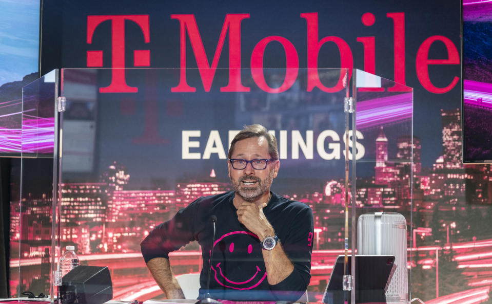IMAGE DISTRIBUTED FOR T-MOBILE - T-Mobile CEO Mike Sievert discusses the incredible accomplishments made since closing its merger with Sprint just seven months ago. Sievert highlighted the company's clear and unambiguous leadership in the 5G era, noting that T-Mobile continues to outpace the competition with an unmatched combination of reach, speed and capacity. (Stephen Brashear/AP Images for T-Mobile)