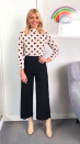 """<p>Holly Willoughby donned a polka dot blouse with a pair of highly-coveted boots by Topshop. FYI, they can be yours for <a rel=""""nofollow noopener"""" href=""""http://www.topshop.com/webapp/wcs/stores/servlet/ProductDisplay?searchTermScope=3&searchType=ALL&viewAllFlag=false&beginIndex=1&langId=-1&productId=30064005&pageSize=20&defaultGridLayout=3&CE3_ENDECA_PRODUCT_ROLLUP_ENABLED=N&searchTerm=32H04NCRM&productOnlyCount=1&catalogId=33057&productIdentifierproduct=product&geoip=search&x=25&searchTermOperator=LIKE&sort_field=Relevance&y=11&storeId=12556&qubitRefinements=siteId%3DTopShopUK"""" target=""""_blank"""" data-ylk=""""slk:£85"""" class=""""link rapid-noclick-resp"""">£85</a>. <em>[Photo: Instagram]</em> </p>"""