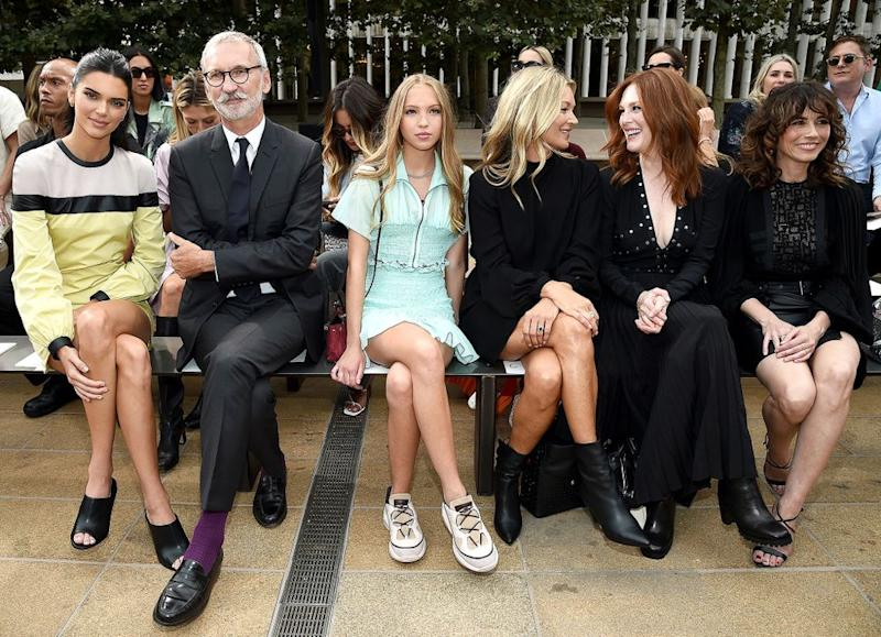 From left to right, Kendall Jenner, Jean Cassegrain, Lila Moss, Kate Moss, Julianne Moore and Linda Cardellini