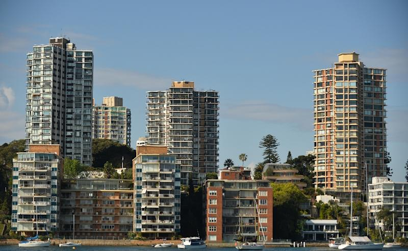 This general view shows residential property along the harbourfront in Sydney