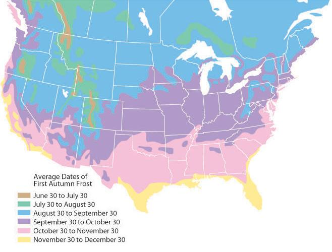 Fall frost date map