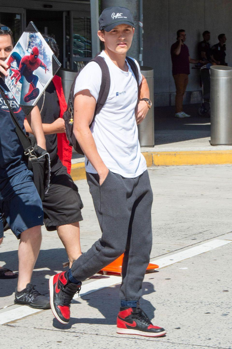 <p>Tom Holland arrives at JFK Airport on June 23, 2019 in New York City.</p>