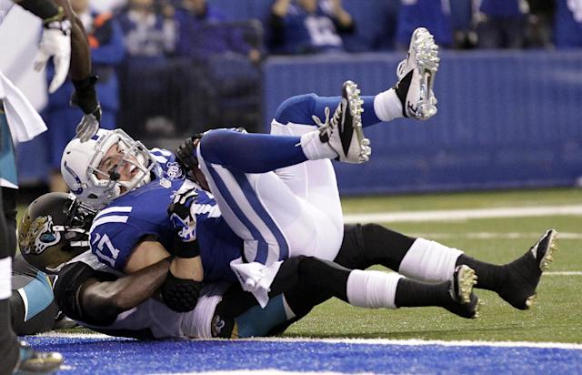Indianapolis Colts' Griff Whalen (17) is tackled by Jacksonville Jaguars' Mike Harris after making a 7-yard touchdown reception during the second half of an NFL football game on Sunday, Dec. 29, 2013, in Indianapolis. (AP Photo/AJ Mast)