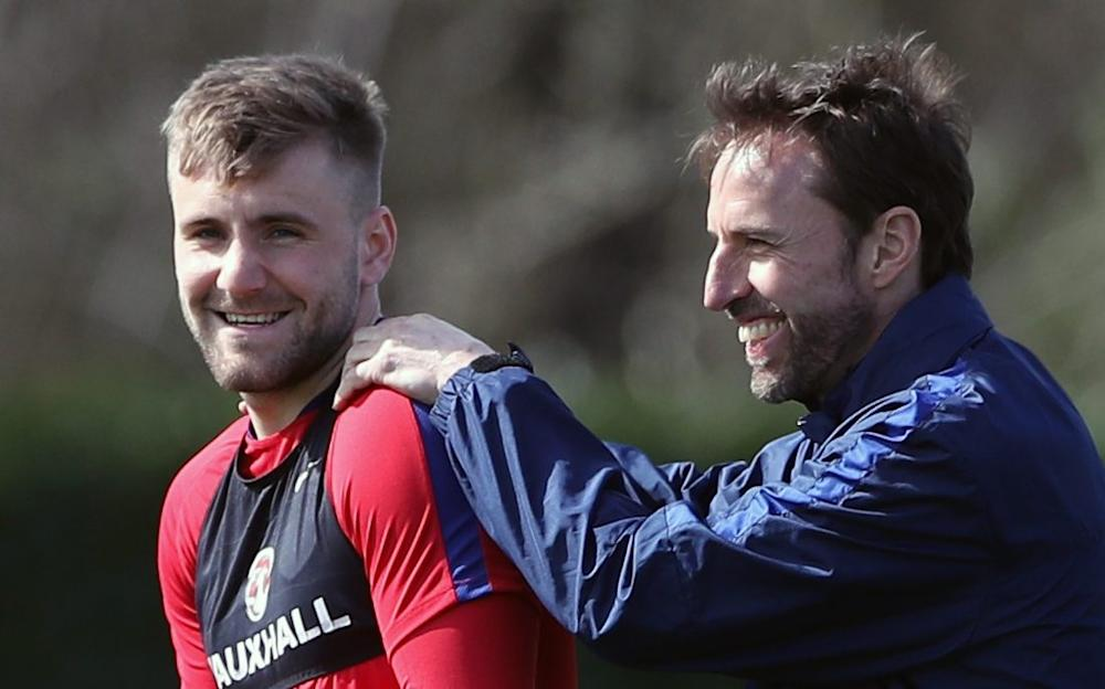 Luke Shaw in happier times with the England set-up