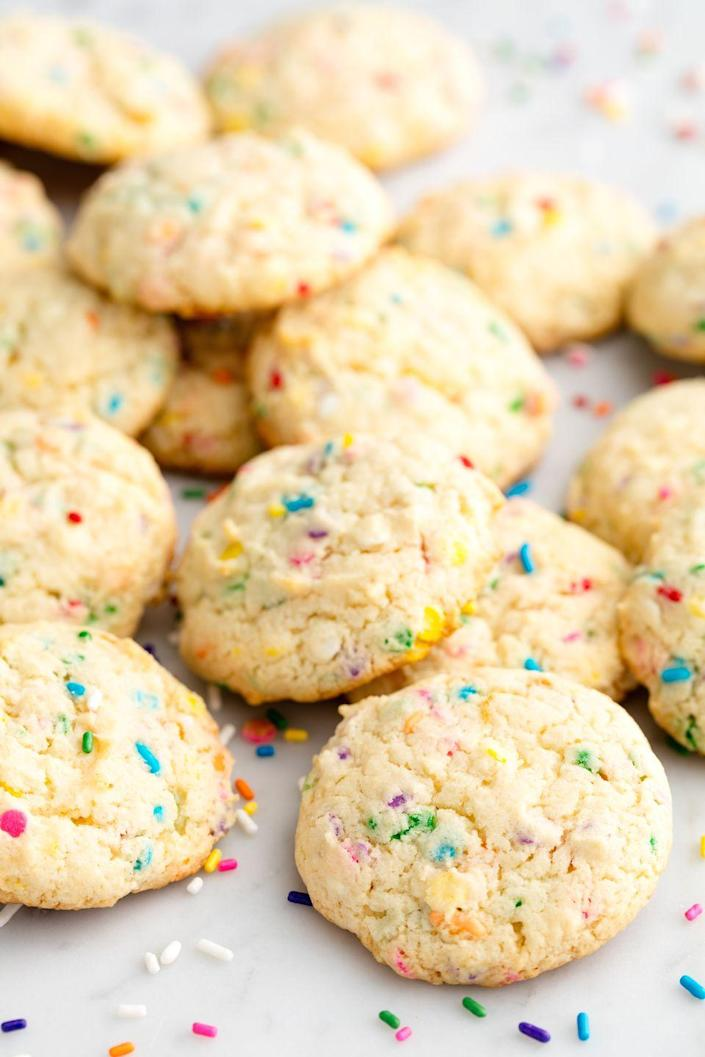 """<p>Have your cake and Funfetti cookies, too!</p><p>Get the recipe from <a href=""""https://www.delish.com/cooking/recipe-ideas/recipes/a50274/birthday-cake-cookies-recipe/"""" rel=""""nofollow noopener"""" target=""""_blank"""" data-ylk=""""slk:Delish"""" class=""""link rapid-noclick-resp"""">Delish</a>.</p>"""