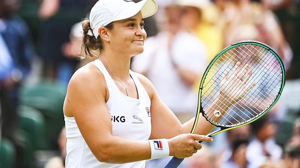 Ash Barty, pictured here after her victory over Angelique Kerber in the Wimbledon semi-finals.