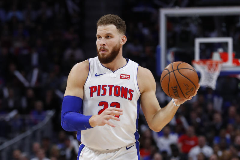 Detroit Pistons forward Blake Griffin plays against the Memphis Grizzlies in the first half of an NBA basketball game in Detroit, Tuesday, April 9, 2019. (AP Photo/Paul Sancya)