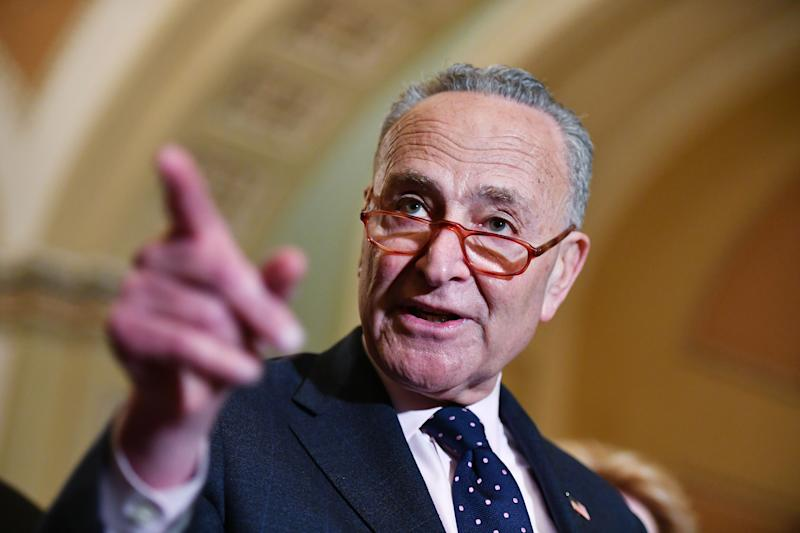 Senate Minority Leader Chuck Schumer speaks to reporters after a policy luncheon at the US Capitol in Washington, DC, on January 7, 2020. (Photo: Mandel Ngan/AFP via Getty Images)