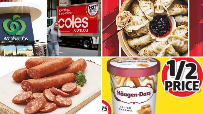 Woolworths and Coles signs, dumplings, Haagen-Dazs ice cream and chorizos.
