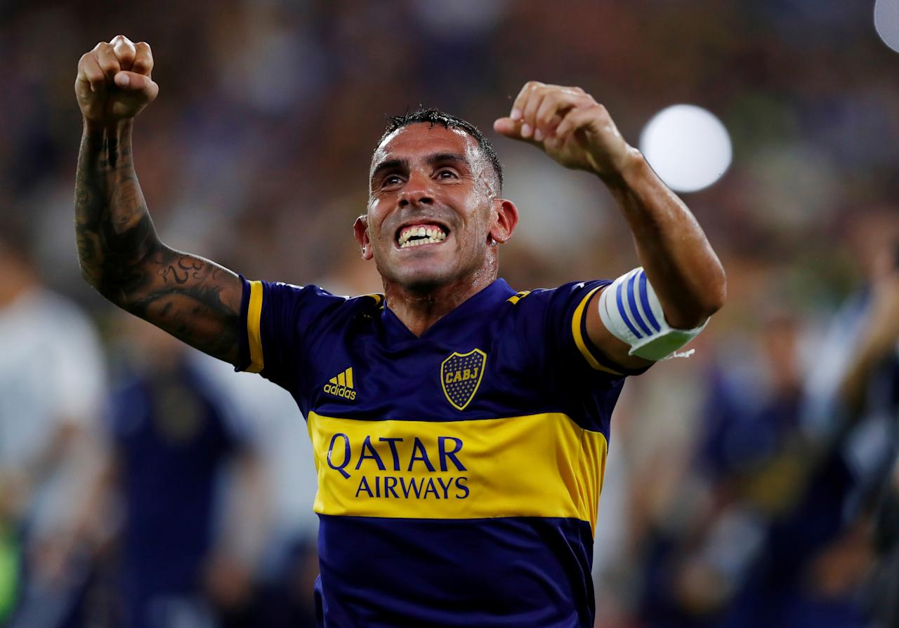 Soccer Football - Superliga - Boca Juniors v Gimnasia y Esgrima - Alberto J. Armando Stadium, Buenos Aires, Argentina - March 7, 2020     Boca Juniors' Carlos Tevez celebrates after winning the Superliga   REUTERS/Agustin Marcarian     TPX IMAGES OF THE DAY