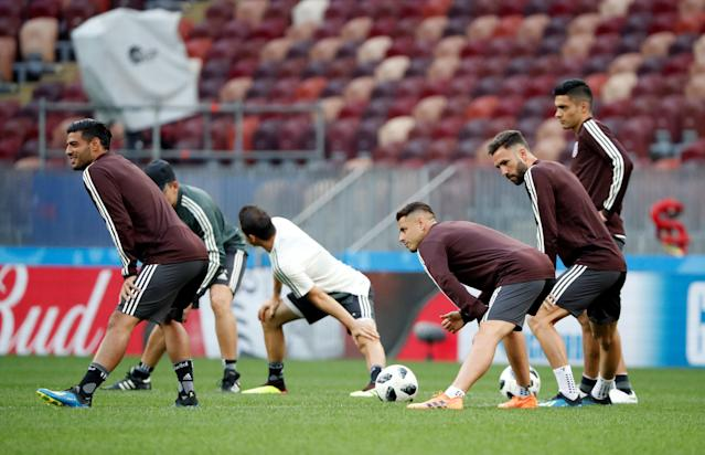 Soccer Football - World Cup - Mexico Training - Luzhniki Stadium, Moscow, Russia - June 16, 2018 Mexico's Carlos Vela, Javier Hernandez and Miguel Layun during training REUTERS/Grigory Dukor