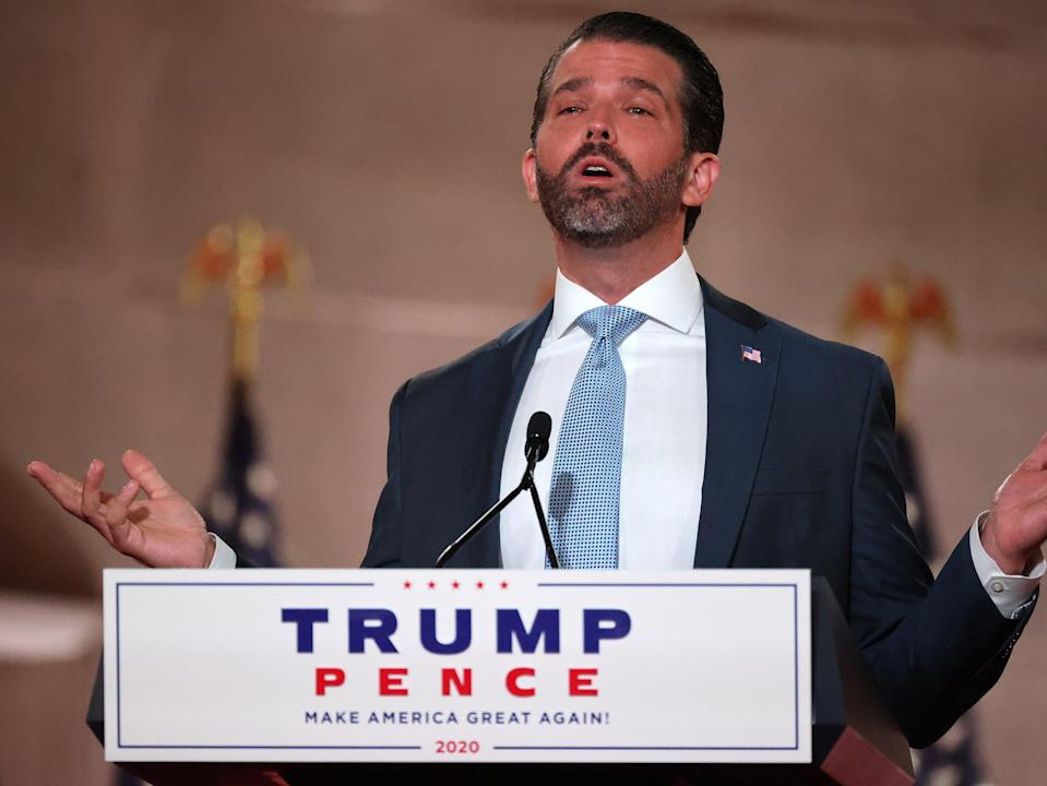 Donald Trump Jr. pre-records his address to the Republican National Convention at the Mellon Auditorium on 24 August 2020 in Washington, DC (Getty Images)