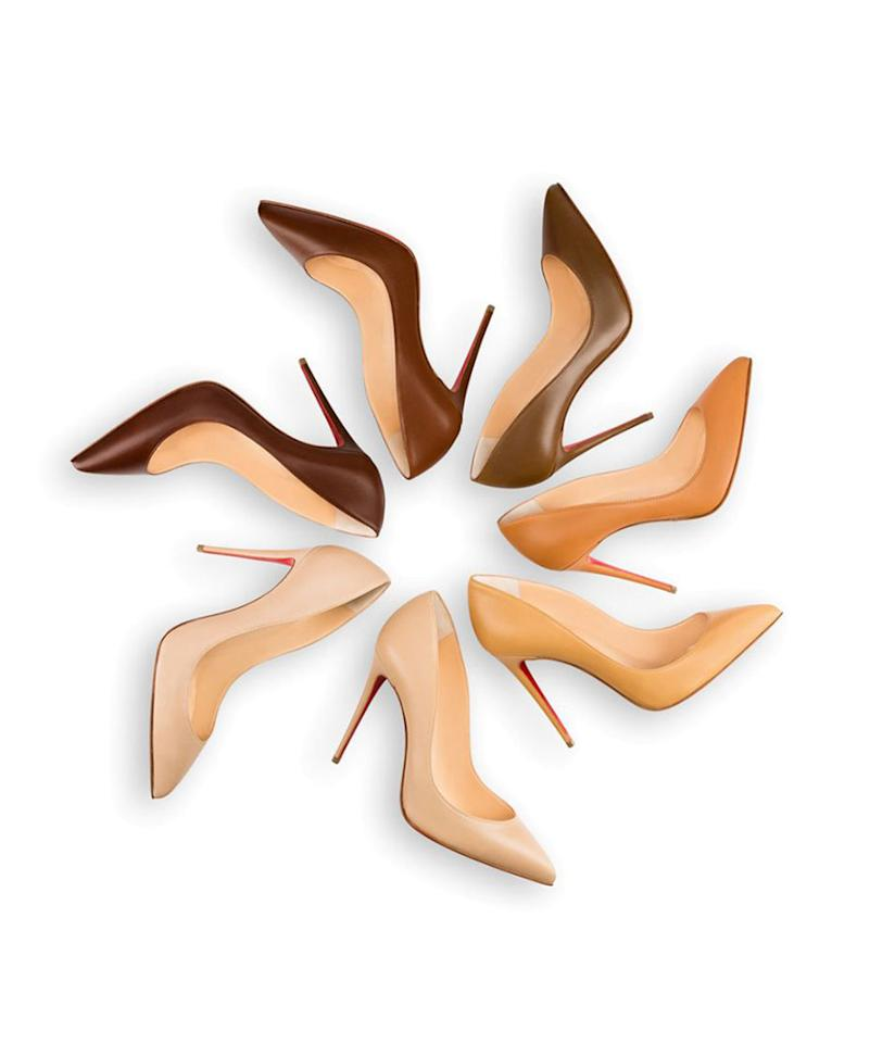 """<p>The Louboutin brand is working hard to offer shoes that can be considered nude on any skin tone — not just light to medium ones. In 2013, the label released a collection of nude shoes that ranged from very pale shades to dark ones, and last year it<a rel=""""nofollow"""" href=""""http://nymag.com/thecut/2015/04/louboutin-expands-the-colors-of-the-nude-shoe.html"""">added more flesh-toned hues to the collection</a>. This year, it launched a campaign revealing two new shades. We'd love to see even more hues that suit different undertones! Nude Pigalle pumps for all!</p><p><i>Christian Louboutin Pigalle Follies """"Safki"""" No. 5, $675, <a rel=""""nofollow"""" href=""""http://us.christianlouboutin.com/us_en/shop/women/pigalle-follies-safki-n-5.html"""">Christian Louboutin</a></i></p>"""