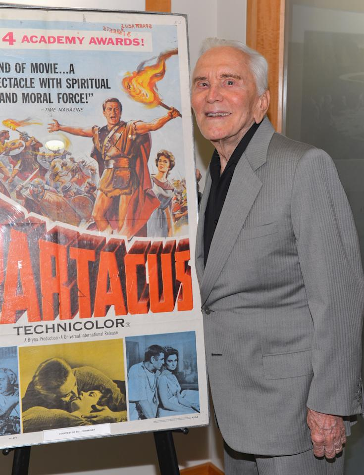 """BEVERLY HILLS, CA - AUGUST 13:  Actor Kirk Douglas attends the last 70mm film screening of """"Spartacus"""" at AMPAS Samuel Goldwyn Theater on August 13, 2012 in Beverly Hills, California.  (Photo by Alberto E. Rodriguez/Getty Images)"""