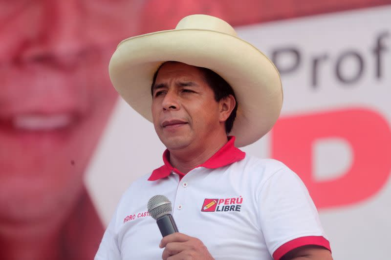 FILE PHOTO: Peru's socialist presidential candidate Castillo attends a rally in Lima