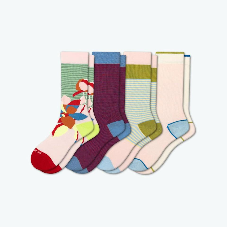 """<h2>Bombas</h2><br>""""We exist to help support the homeless community,"""" declares Bombas on their website, """"and to bring awareness to an under-publicized problem in the United States."""" For every pair of <a href=""""https://bombas.com/pages/sock-tech"""" rel=""""nofollow noopener"""" target=""""_blank"""" data-ylk=""""slk:painstakingly researched"""" class=""""link rapid-noclick-resp"""">painstakingly researched</a> and joyfully designed socks that the brand sells, they donate an item of much-needed clothing to a homeless shelter. <br><br><em>Shop <strong><a href=""""https://www.amazon.com/s?k=BOMBAS&rh=n%3A7141123011%2Cp_89%3ABOMBAS&dc&qid=1619106136&rnid=2528832011&ref=sr_nr_p_89_1"""" rel=""""nofollow noopener"""" target=""""_blank"""" data-ylk=""""slk:Bombas"""" class=""""link rapid-noclick-resp"""">Bombas</a></strong> on Amazon</em><br><br><strong>Bombas</strong> Lightweight Calf Sock 4-Pack, $, available at <a href=""""https://go.skimresources.com/?id=30283X879131&url=https%3A%2F%2Fbombas.com%2Fproducts%2Fwomens-lightweight-crew-solid-four-pack%3Fvariant%3Dfloral-stripe-mix%26size%3Dm"""" rel=""""nofollow noopener"""" target=""""_blank"""" data-ylk=""""slk:Bombas"""" class=""""link rapid-noclick-resp"""">Bombas</a>"""
