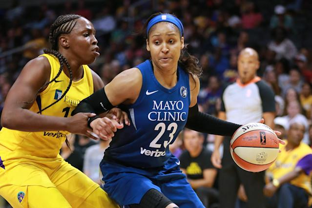 "<a href=""https://sports.yahoo.com/wnba/players/4748/"" data-ylk=""slk:Maya Moore"" class=""link rapid-noclick-resp""><a class=""link rapid-noclick-resp"" href=""/wnba/players/4748/"" data-ylk=""slk:Maya Moore"">Maya Moore</a></a> announced she will take a year off in 2019. (Photo by Leon Bennett/Getty Images)"