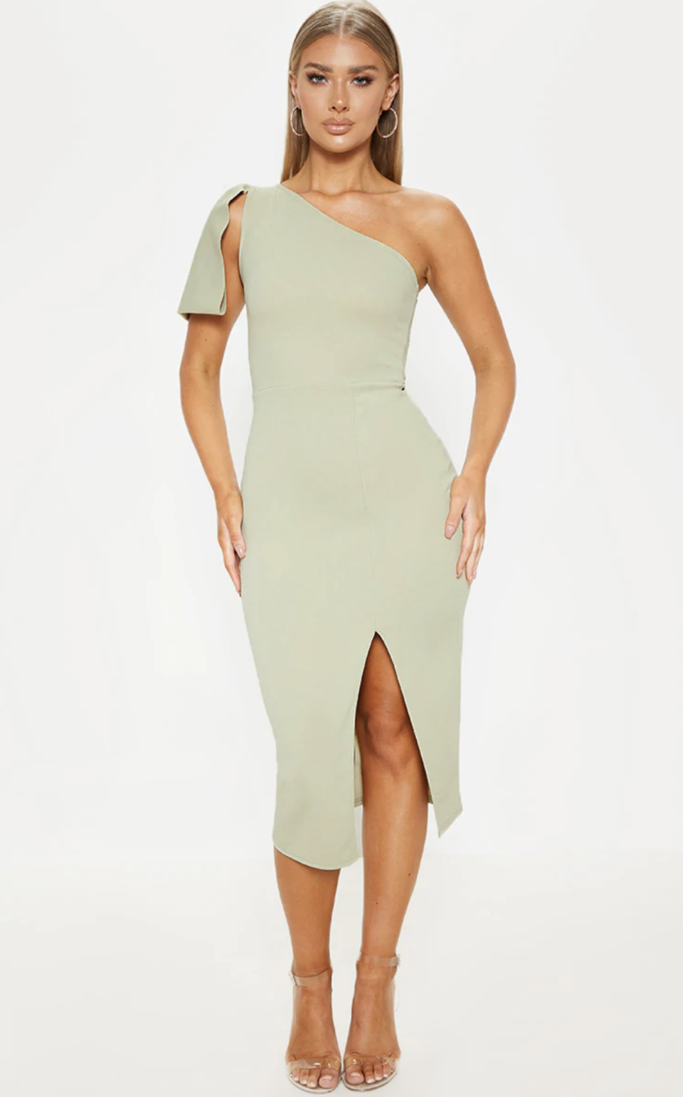PrettyLittleThing One Shoulder Bow Detail Midi Dress in Sage Green (Photo via PrettyLittleThing)