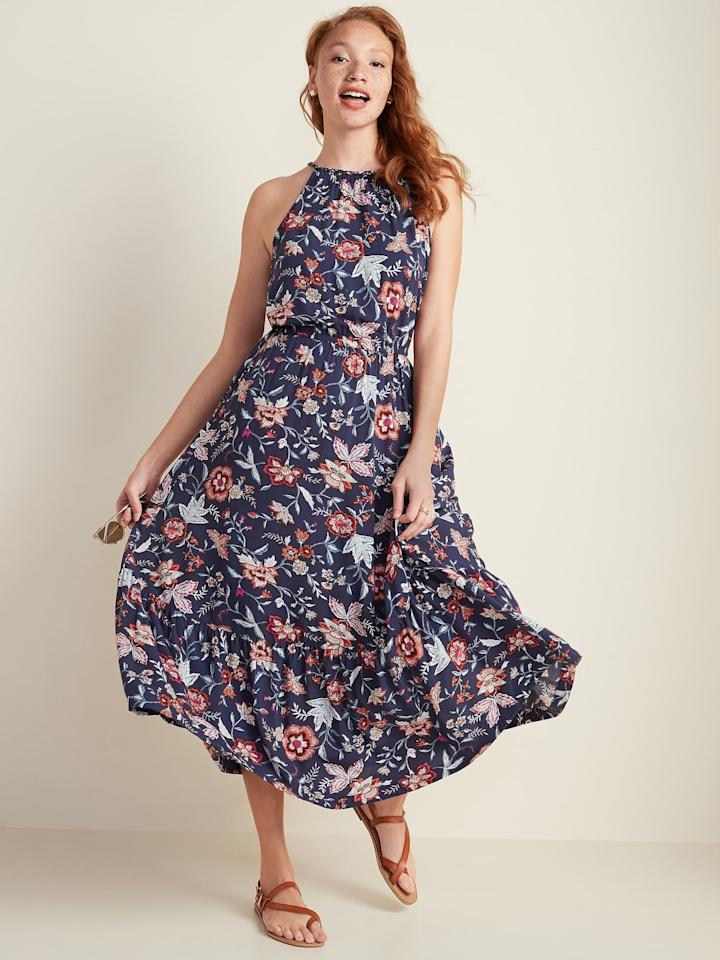 """<p>We love how easy it will be to dress up this <a href=""""https://www.popsugar.com/buy/Waist-Defined-Braided-Strap-Maxi-Sundress-583730?p_name=Waist-Defined%20Braided-Strap%20Maxi%20Sundress&retailer=oldnavy.gap.com&pid=583730&price=20&evar1=fab%3Aus&evar9=47507705&evar98=https%3A%2F%2Fwww.popsugar.com%2Ffashion%2Fphoto-gallery%2F47507705%2Fimage%2F47564780%2FOld-Navy-Waist-Defined-Braided-Strap-Maxi-Sundress&list1=shopping%2Cold%20navy%2Cdresses&prop13=mobile&pdata=1"""" rel=""""nofollow"""" data-shoppable-link=""""1"""" target=""""_blank"""" class=""""ga-track"""" data-ga-category=""""Related"""" data-ga-label=""""https://oldnavy.gap.com/browse/product.do?pid=581915012&amp;pcid=999&amp;vid=1&amp;searchText=floral+maxi+dress#pdp-page-content"""" data-ga-action=""""In-Line Links"""">Waist-Defined Braided-Strap Maxi Sundress</a> ($20, originally $40). With wraparound sandals and a pair of gorgeous earrings you can instantly elevate this piece.</p>"""