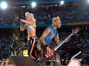 <p>No Doubt followed Twain, with lead singer Stefani wearing a silver bra with low-slung trousers </p>