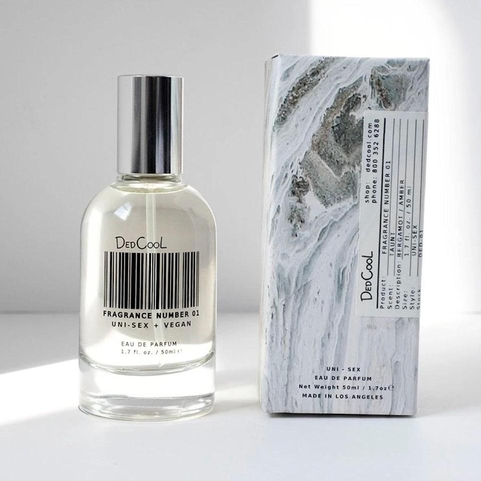 """Scent is so powerful. It can spark a specific memory or location you otherwise would have forgotten about. And with stay-at-home precautions still happening, an escape is something we're all yearning for. With hints of bergamot, amber, and vanilla, Dedcool's Fragrance 01 will (theoretically, of course) transport you to a relaxing oasis this fall. $85, DedCool. <a href=""""https://shop-links.co/1720981111772116190"""" rel=""""nofollow noopener"""" target=""""_blank"""" data-ylk=""""slk:Get it now!"""" class=""""link rapid-noclick-resp"""">Get it now!</a>"""