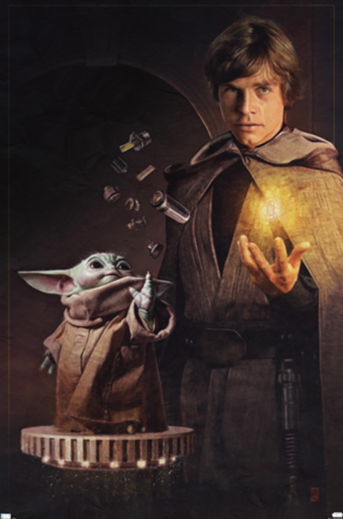 The Mandalorian poster of Grogu Froce controlling floating pieces of a lightsaber next to a robed Luke Skywalker doing the same with a yellow kyber crystal
