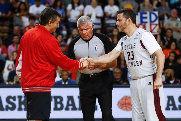 Sen. Ted Cruz and Jimmy Kimmel shake hands before the Blobfish Basketball Classic and one-on-one interview at Texas Southern University's Health & Physical Education Arena Saturday, June 16, 2018 in Houston. (AP)