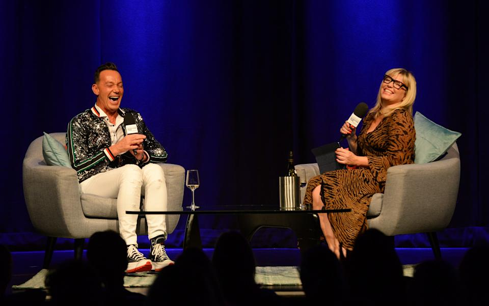 LONDON, ENGLAND - SEPTEMBER 18: Craig Revel Horwood and Kate Thornton are seen during Yahoo's first