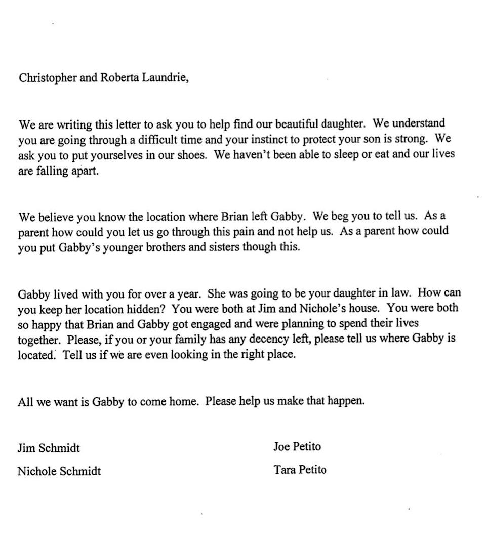 An open letter from the family of Gabby Petito to Mr Laundrie's parents Christopher and Roberta (Petito family)